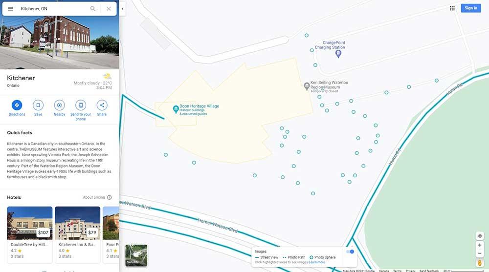 Waterloo Region Museum on Google Map Street View With 360 Panoramas